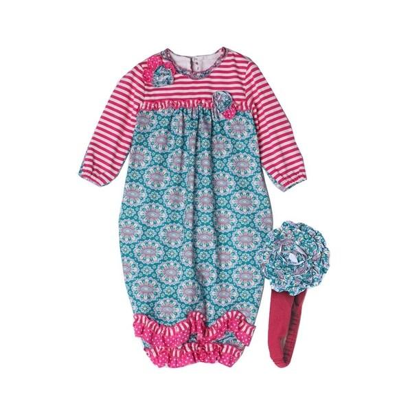 Isobella & Chloe Baby Girls Teal Cloverfield Striped Flower Layette Sack