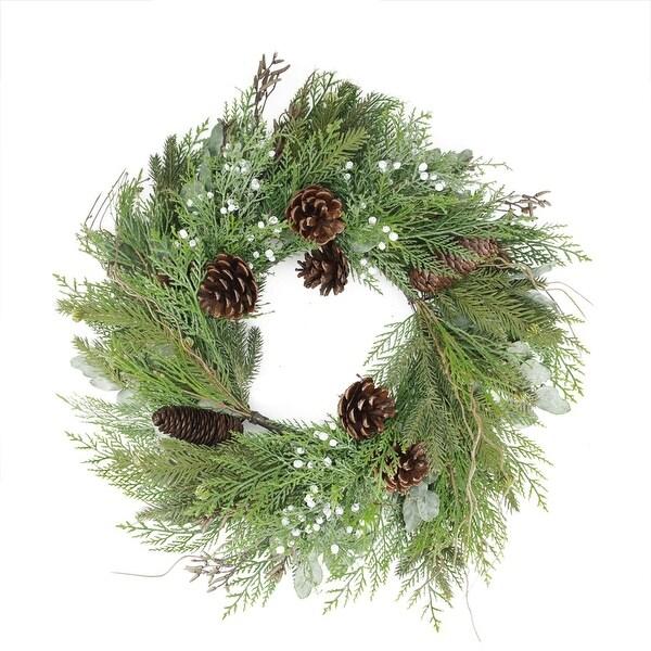 "24"" Mixed Cedar Pine Cone and Juniper Berry Artificial Christmas Wreath - Unlit - green"