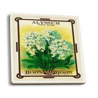 Alyssum - Vintage Seed Packet (Set of 4 Ceramic Coasters)