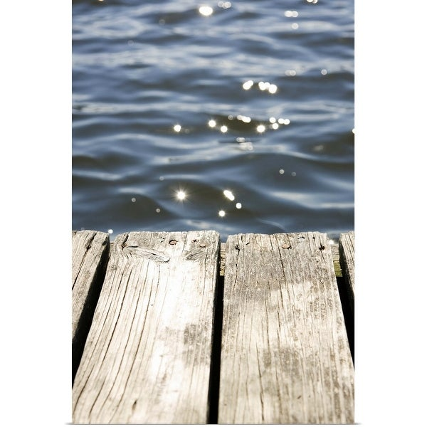 """""""Close up of dock and sun reflecting on lake"""" Poster Print"""