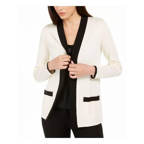 ANNE KLEIN Womens Ivory Long Sleeve Open Cardigan Sweater Size XXS