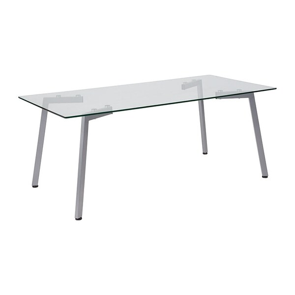 Offex Roxbury Collection Contemporary Gl Coffee Table With Silver Metal Legs