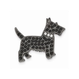 Black IP Black and White Austrian Crystal Elements Dog Pin