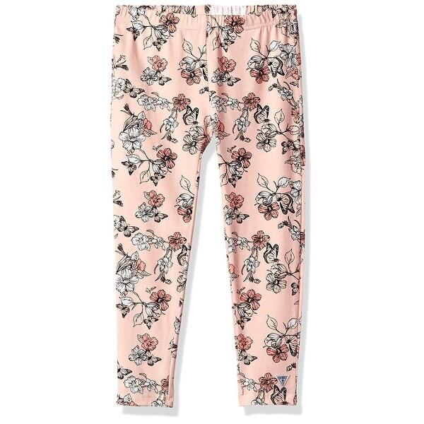 Guess Blush Pink Size 6x Stretch Floral Printed Leggings Pants