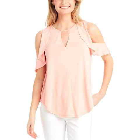 Jessica Simpson Womens Pearlina Pullover Top Cold Shoulder Ruffled