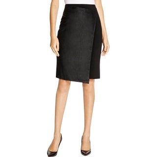 Dylan Gray Womens Straight Skirt Leather Mixed Media