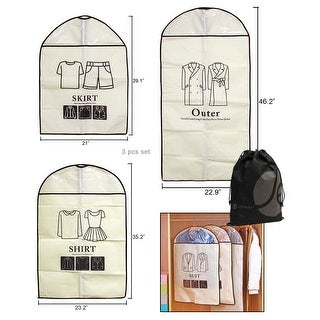 JAVOedge Beige 3 Piece Set Easy Labeled Hanging Closet Garment Bag with Transparent View Window (Small, Medium, Large)