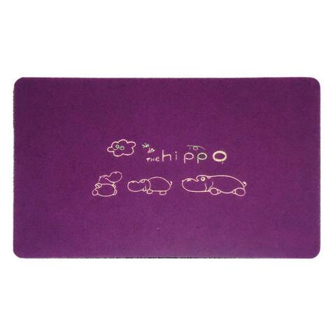 Embroidery Clover Foot Ground Floor Door Mat Carpet - Purple