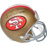 Dwight Clark signed San Francisco 49ers Full Size Replica TB Helmet SB XVI XIX Champs