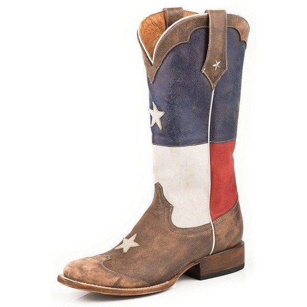 Roper Western Boots Womens Rebel Texas Flag Brown