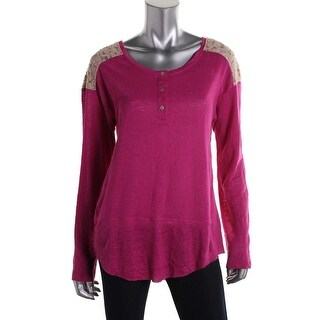 Sanctuary Womens Linen Lace-Trim Henley Sweater - S