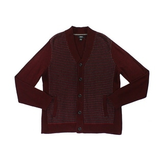 Alfani NEW Burgundy Red Men Large L Printed Button-Front Cardigan Sweater