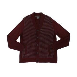 Alfani NEW Red Mens Size Large L Colorblock Texture Cardigan Sweater