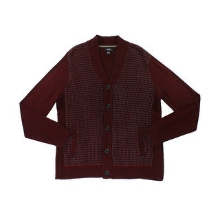 Alfani NEW Red Velvet Mens Size Medium M Waffle-Knit Sweater Cardigan