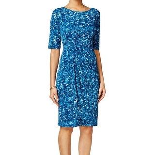 Connected Apparel NEW Blue Ocean Women's Size 10 Draped Sheath Dress