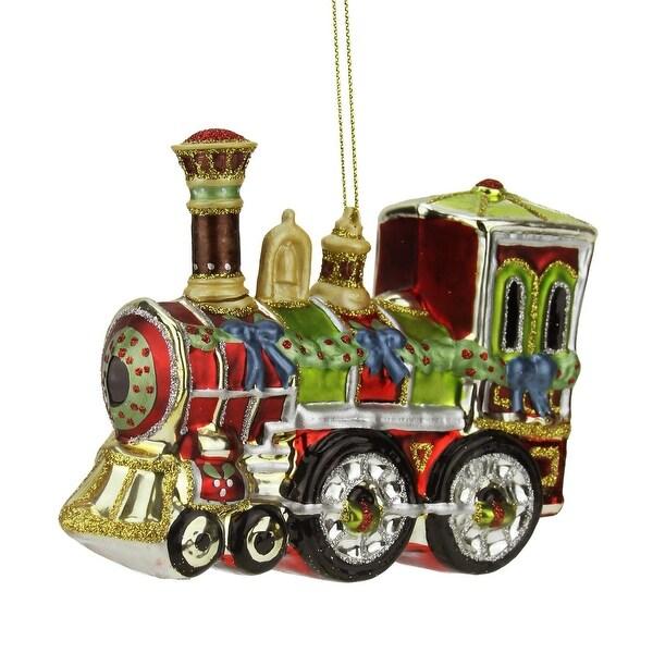 """4"""" Multi-Color Glass Train Decorative Christmas Ornament - multi"""
