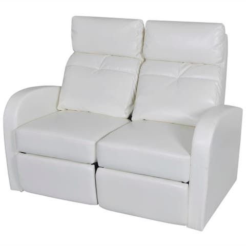 vidaXL 3-Seater Home Theater Recliner Sofa White Faux Leather