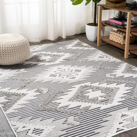 JONATHAN Y Sumak High-Low Pile Neutral Diamond Kilim Indoor/Outdoor Area Rug