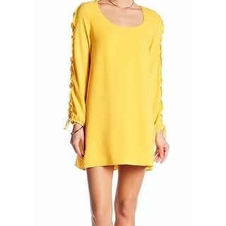 The Vanity Room NEW Yellow Womens Size Small S Ruffled Shift Dress