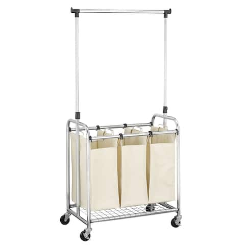 Household Essentials Commercial 3-Bag Laundry Sorter with Clothes Rack, Chrome