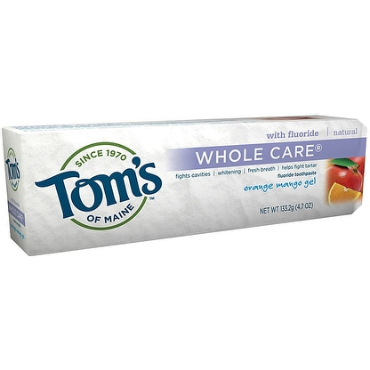Tom's of Maine Whole Care with Fluoride Natural Toothpaste Gel, Orange Mango 4.7 oz