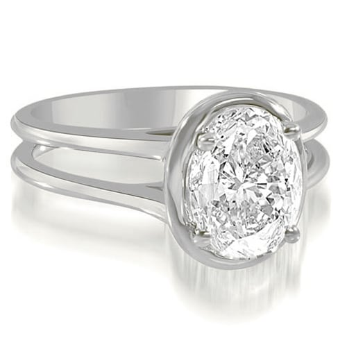 0.75 cttw. 14K White Gold Split Shank Halo Oval Cut Diamond Engagement Ring