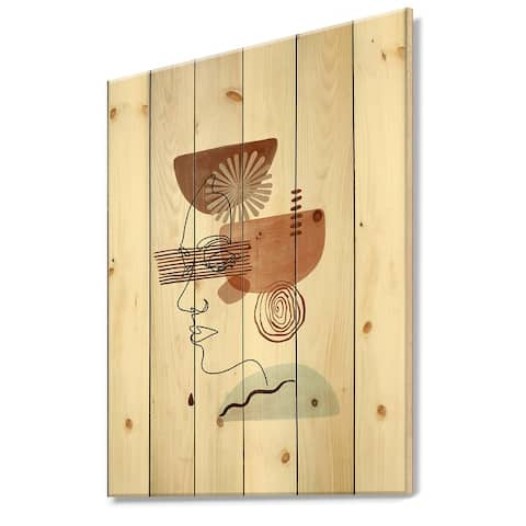 Designart 'Minimal Compositions Of Hand Drawn Abstract Faces II' Modern Print on Natural Pine Wood