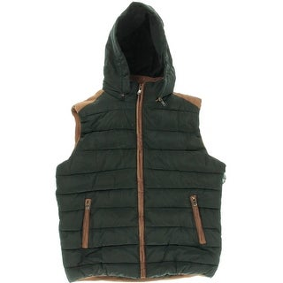 COOFANDY Mens Hooded Lined Outerwear Vest - L