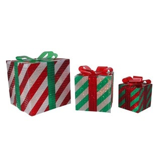 Set of 3 Glistening Striped Lighted Gift Box Outdoor Christmas Decoration - N/A