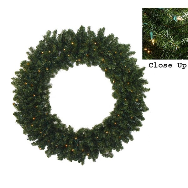 6' Pre-Lit Commercial Size Canadian Pine Artificial Christmas Wreath - Clear Lights - green
