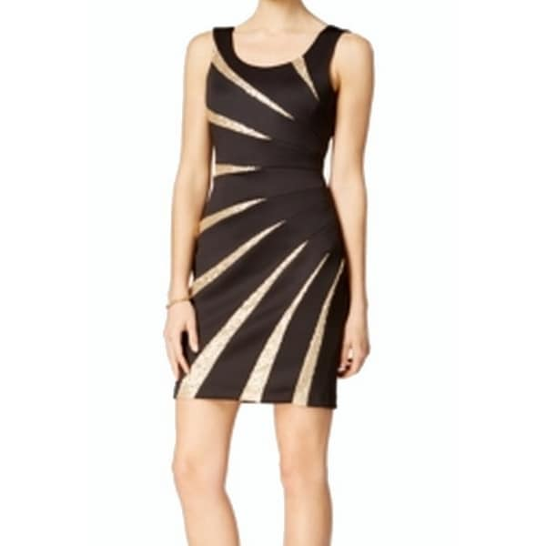 Shop Guess New Black Gold Starburst Womens Size 6 Sheath Sequined