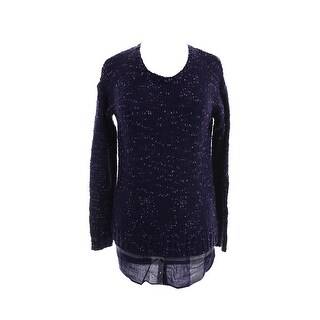 Kensie Midnight Purple Long-Sleeve Nep-Knit Layered-Look Sweater XS