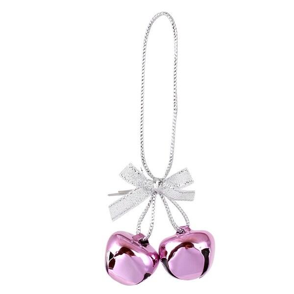 Festival Christmas Tree Metal Bowknot Ring Bell Pendant Hanger Decor Pink