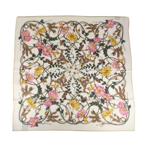 Gucci Women's Ivory Silk Vine Floral Print Large Scarf 494604 9275