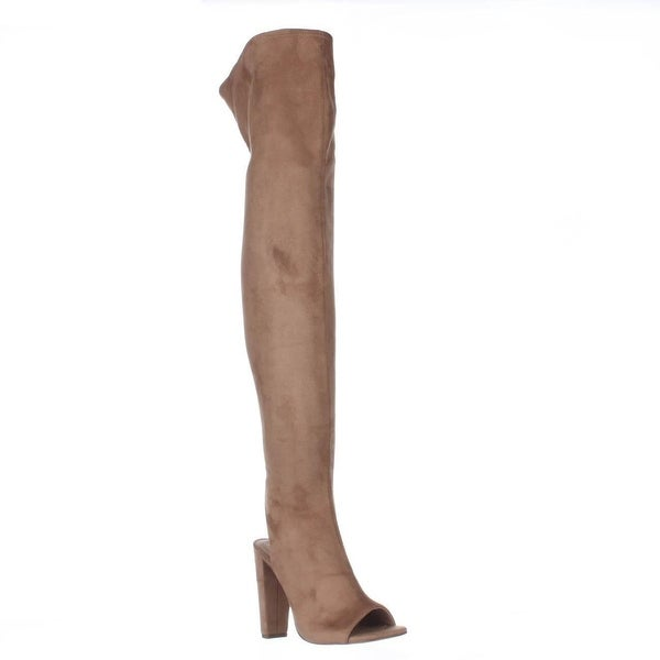 Steve Madden Kimmi Over-The-Knee Open Heel Boots, Camel