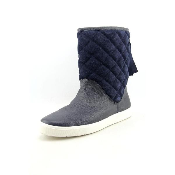Isaac Mizrahi Alma Women Round Toe Leather Blue Boot