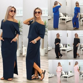 Women Sexy Long Side Split Loose Short Sleeve Evening Party Dress