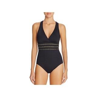La Blanca Womens Studded Strappy One-Piece Swimsuit