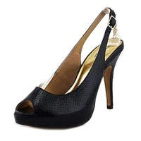 Thalia Sodi Cam Women Open Toe Leather Black Sandals - Black Snake - 8.5