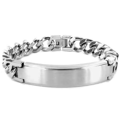 Men's Stainless Steel Brushed ID Bracelet - 8.5 inches