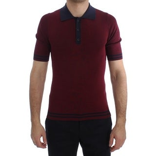Dolce & Gabbana Bordeaux Blue Silk Polo T-shirt