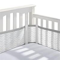 Breathable Baby 14214 Printed Crib Liner Gray Chevron
