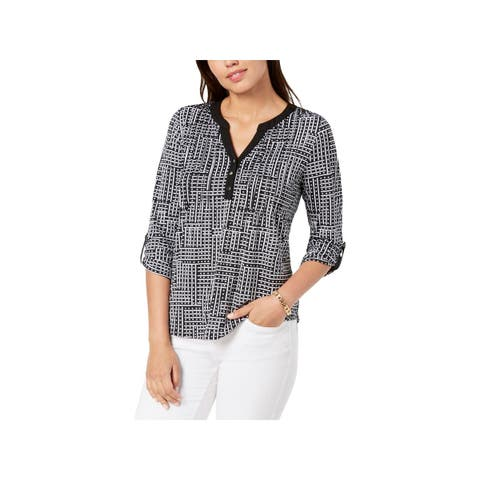 NY Collection Womens Petites Henley Top Pintuck Printed