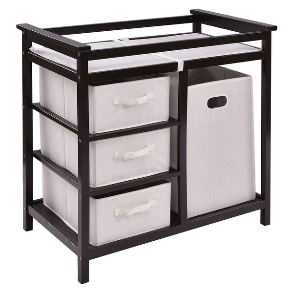 Costway Espresso Infant Baby Changing Table w/3 Basket Hamper Diaper Storage Nursery