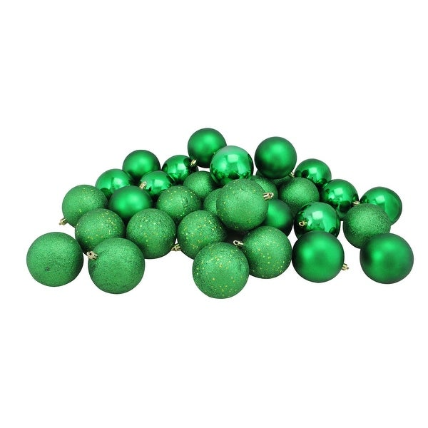 "32ct Xmas Green Shatterproof 4-Finish Christmas Ball Ornaments 3.25"" (80mm)"