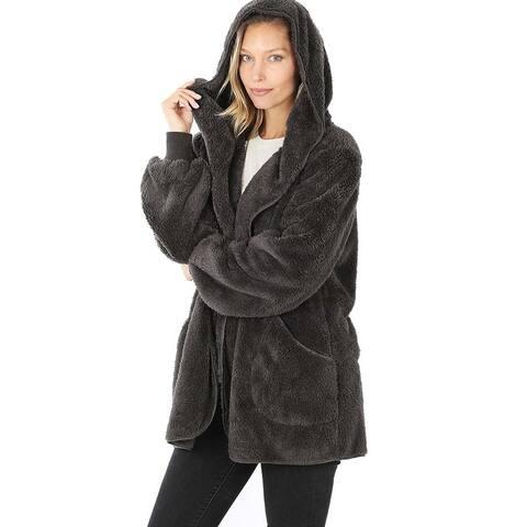 JED Women's Relax Fit Soft Fleece Hoodie Coatigan