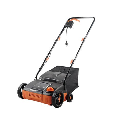 120V Lawn Dethatcher 4-cutting Weeding Corded Foldable Electric Scarifier with 4200rpm,11AMP Charge,30L Grass Capacity