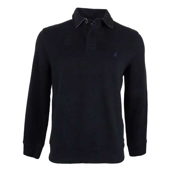 Nautica Men\u0026#x27;s Classic-Fit French Ribbed Long Sleeve Polo