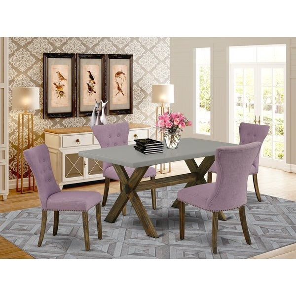 Dining Set Included Parson Chair and Rectangular Cement Table in Distressed Jacobean Finish. Opens flyout.