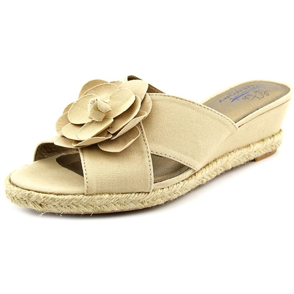 Life Stride Omega Women W Open Toe Canvas Wedge Sandal